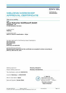 Welding Workshop Approval Certificate DNVGL