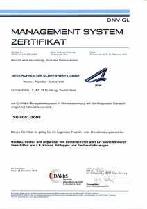 Management System Zertifikat ISO 9001:2008